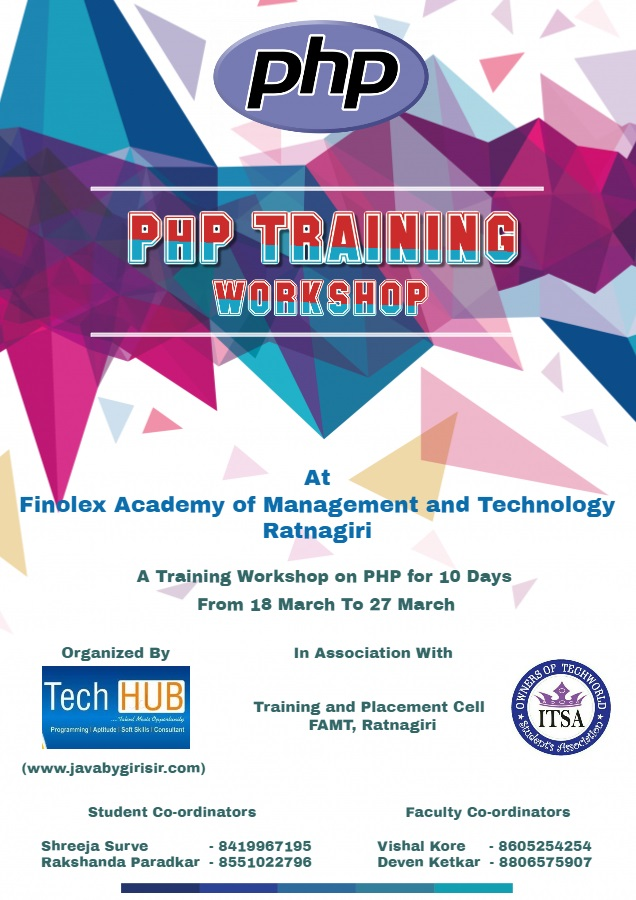 PHP Training Workshop - Finolex Academy of Management and